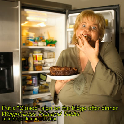 "Weight-Loss Tips and Tricks: Put a ""Closed"" sign on the fridge after dinner"
