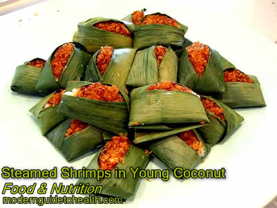 Steamed Shrimps in Young Coconut