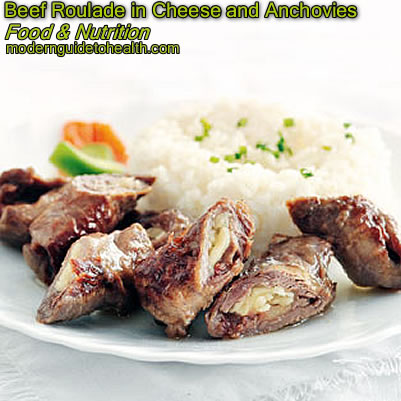 Healthy Recipe Beef Roulade in Cheese and Anchovies